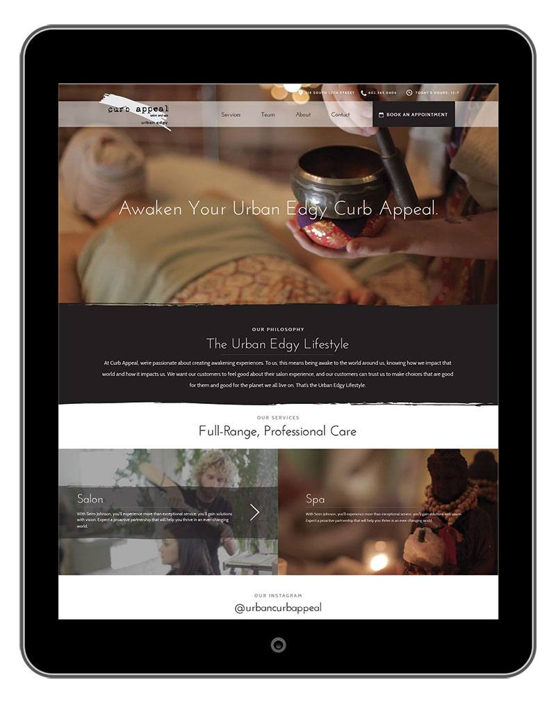curb appeal website on tablet