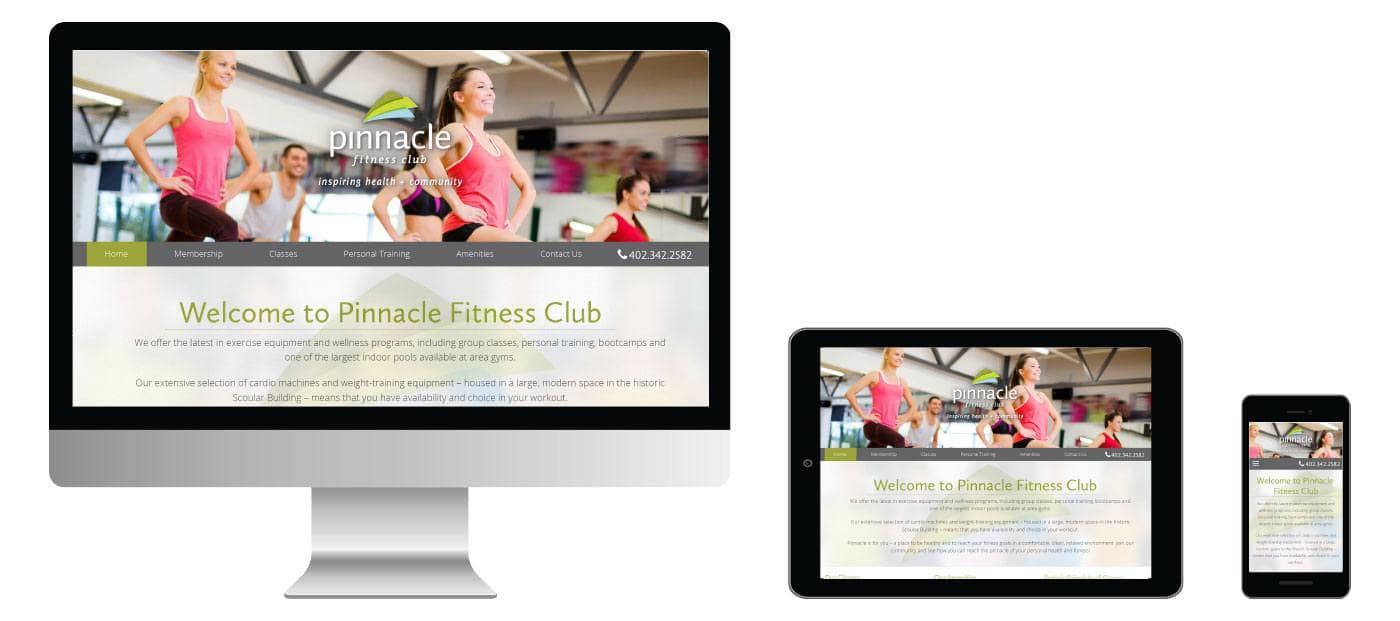 pinnacle responsive website screens
